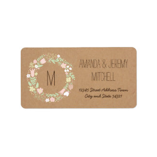 Whimsical Floral Wreath on Craft Paper Monogram Address Label