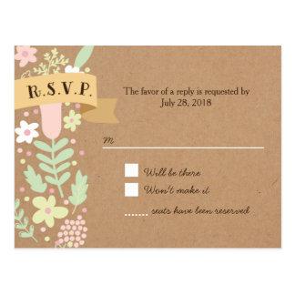 Whimsical Floral Wreath on Craft Paper RSVP Postcard