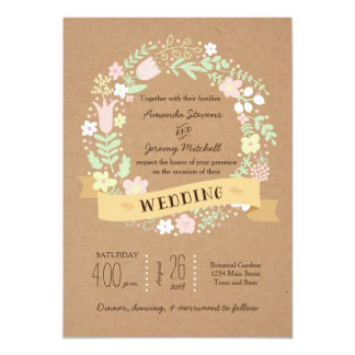 Whimsical Floral Wreath on Craft Paper Wedding 5x7 Paper Invitation Card