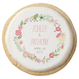 Whimsical Floral Wreath Personalized Wedding Favor Round Sugar Cookie
