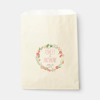 Whimsical Floral Wreath Personalized Wedding Favor Favor Bags