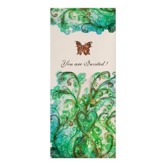 WHIMSICAL FLOURISHES bright blue green champagne Personalized Announcements