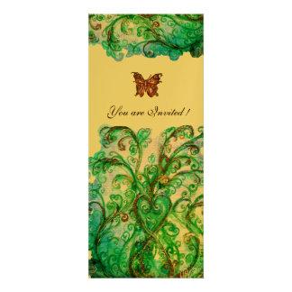 WHIMSICAL FLOURISHES bright blue green gold Custom Invitation