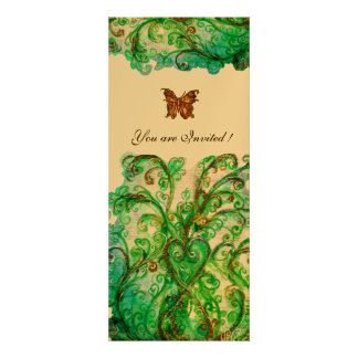 WHIMSICAL FLOURISHES bright blue green gold Personalized Invite
