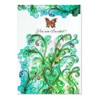 WHIMSICAL FLOURISHES bright blue green ice Card