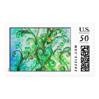 WHIMSICAL FLOURISHES bright blue green Postage