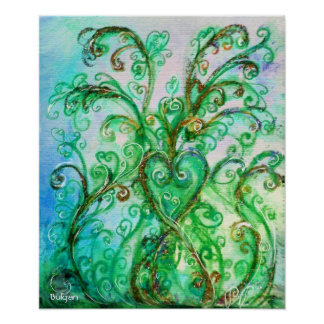 WHIMSICAL FLOURISHES bright blue green Posters
