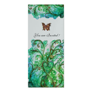 WHIMSICAL FLOURISHES bright blue green silver Card