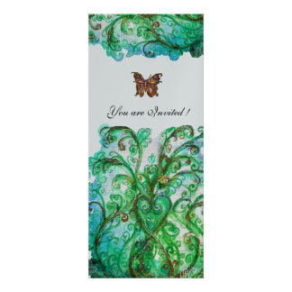WHIMSICAL FLOURISHES bright blue green silver Custom Announcements