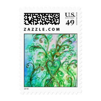 WHIMSICAL FLOURISHES bright blue green Stamp
