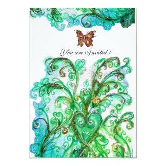 WHIMSICAL FLOURISHES bright blue green white Card