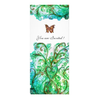 WHIMSICAL FLOURISHES bright blue green white Custom Invite