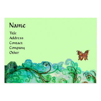 WHIMSICAL FLOURISHES bright green blue Business Card Template