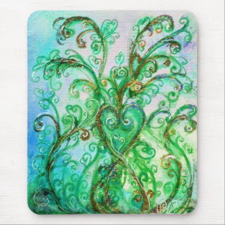 WHIMSICAL FLOURISHES bright green blue yellow Mouse Pad