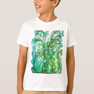 WHIMSICAL FLOURISHES bright green blue yellow T-Shirt