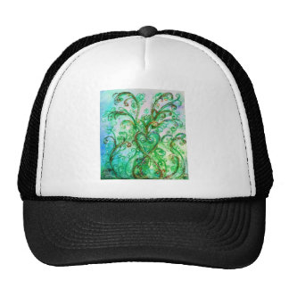 WHIMSICAL FLOURISHES bright green blue yellow Trucker Hat