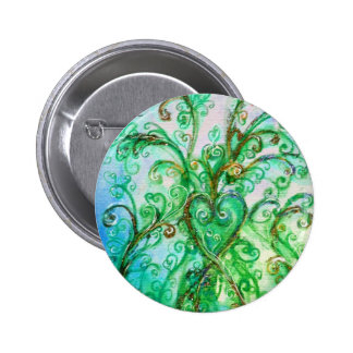 WHIMSICAL FLOURISHES bright green yellow blue 2 Inch Round Button