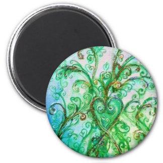 WHIMSICAL FLOURISHES bright green yellow blue 2 Inch Round Magnet