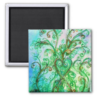 WHIMSICAL FLOURISHES bright green yellow blue Magnet