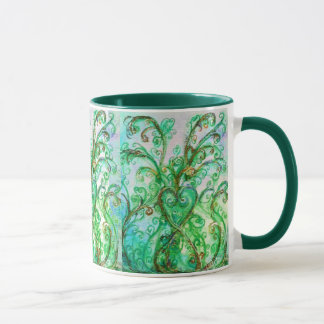 WHIMSICAL FLOURISHES bright green yellow blue Mug