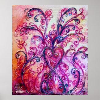 WHIMSICAL FLOURISHES bright pink purple Print