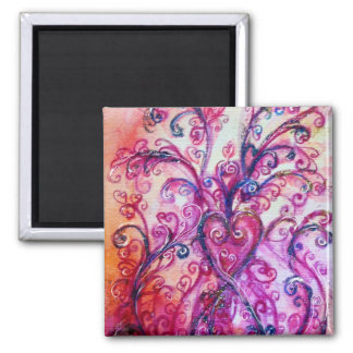 WHIMSICAL FLOURISHES bright pink purple white 2 Inch Square Magnet