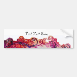 WHIMSICAL FLOURISHES bright pink purple white Car Bumper Sticker