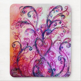 WHIMSICAL FLOURISHES bright pink purple white Mouse Pad