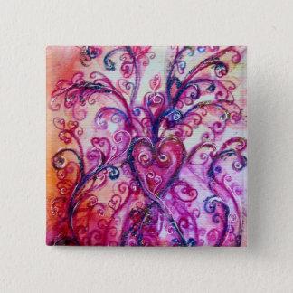 WHIMSICAL FLOURISHES bright pink purple white Pinback Button