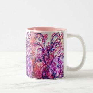 WHIMSICAL FLOURISHES bright pink purple white Two-Tone Coffee Mug