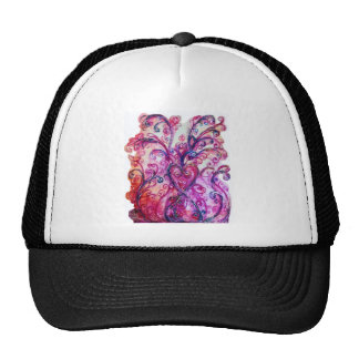 WHIMSICAL FLOURISHES bright pink red blue Trucker Hat