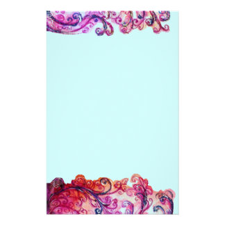 WHIMSICAL FLOURISHES bright pink red purple blue Personalized Stationery