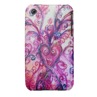 WHIMSICAL FLOURISHES bright pink red purple Case-Mate iPhone 3 Case