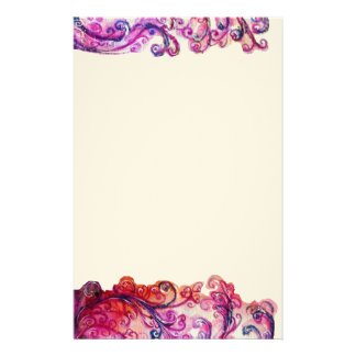 WHIMSICAL FLOURISHES bright pink red purple felt Stationery