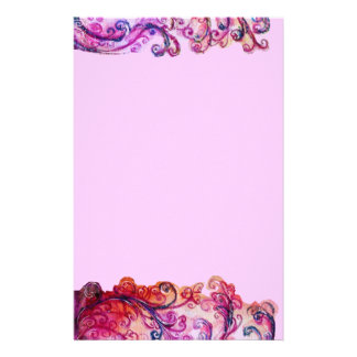 WHIMSICAL FLOURISHES bright pink red purple felt Stationery Design