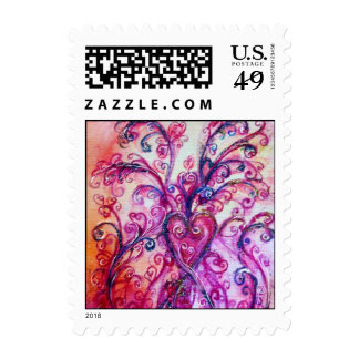WHIMSICAL FLOURISHES bright pink red purple Postage