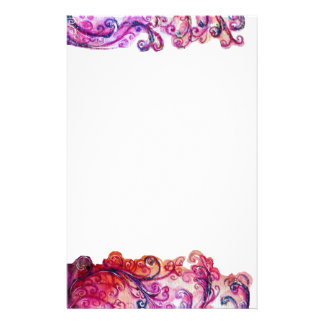WHIMSICAL FLOURISHES bright pink red purple Customized Stationery