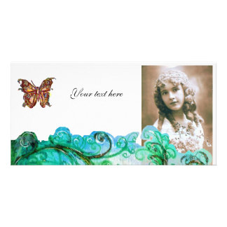 WHIMSICAL FLOURISHES bright red ,green blue white Card