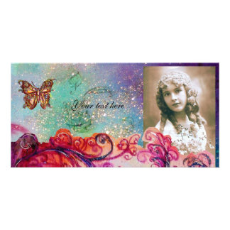 WHIMSICAL FLOURISHES bright red ,pink green blue Card