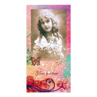 WHIMSICAL FLOURISHES bright red ,pink green Card