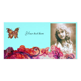 WHIMSICAL FLOURISHES bright red ,pink purple blue Card