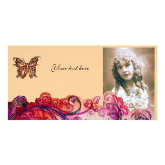 WHIMSICAL FLOURISHES bright red pink purple Card