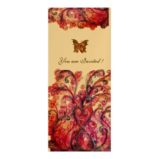 WHIMSICAL FLOURISHES bright red pink purple gold Custom Invite