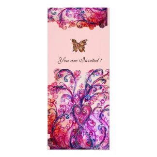 WHIMSICAL FLOURISHES bright red pink purple Custom Announcement