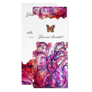 WHIMSICAL FLOURISHES bright red pink purple silver Card