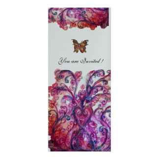 WHIMSICAL FLOURISHES bright red pink purple silver Invitations
