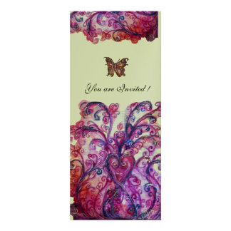 WHIMSICAL FLOURISHES bright red pink purple silver Announcement