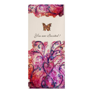 WHIMSICAL FLOURISHES bright red pink purple white Custom Announcement
