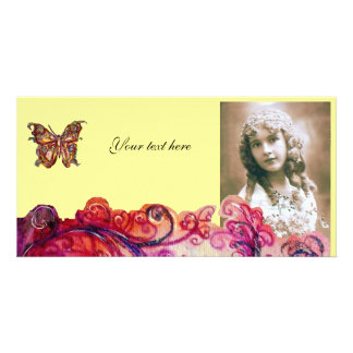 WHIMSICAL FLOURISHES bright red pink purple yellow Card