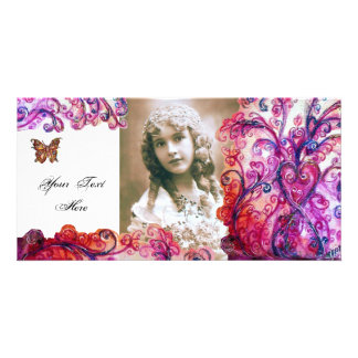 WHIMSICAL FLOURISHES bright red ,pink white purple Card